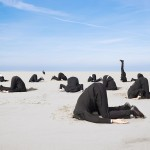 Lots of business man hiding their heads in sand. XXL size image.