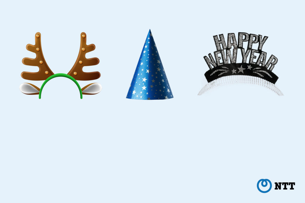 Festive hats background for Microsoft Teams and Webex Meetings