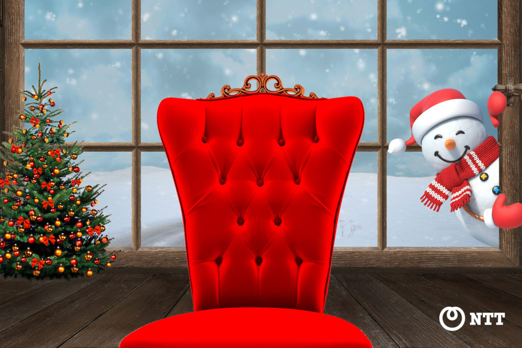 Winter cabin festive background for Microsoft Teams and Webex Meetings